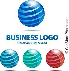 logotipo, globo, affari