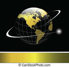 logotipo, globo de la tierra, oro