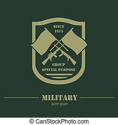 logotipo, gráfico, emblemas, modelo, militar