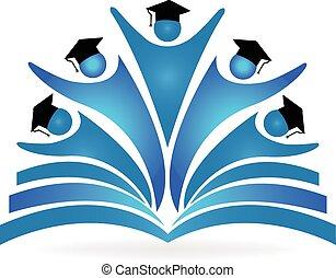 logotipo, graduados, educación, libro