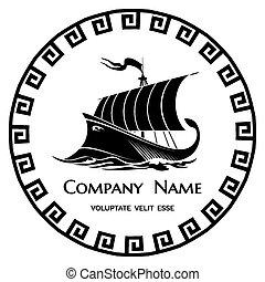 logotipo, griego, antiguo, galera, icono