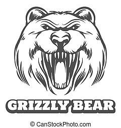 logotipo, grigio, testa, orso