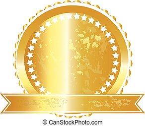 logotipo, grunge, fita, selo ouro
