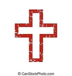 logotipo, grunge, rojo, cristianismo
