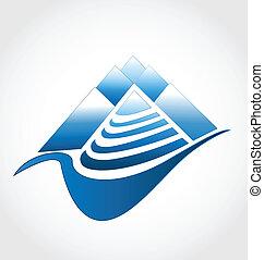 logotipo, grupo, montanhas
