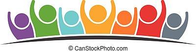logotipo, grupo, pessoas