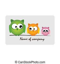 logotipo, gufi, -, carino