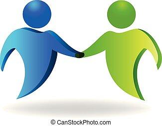 logotipo, handshaking, ícone
