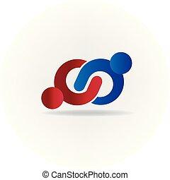 logotipo, handshaking, pessoas negócio