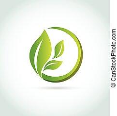 logotipo, healh, mette foglie, natura