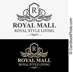 logotipo, heraldic, luxuoso, crista, real