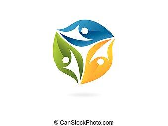 logotipo, hoja, trabajo en equipo, creativo