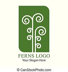 logotipo, hoja verde, vector., helecho