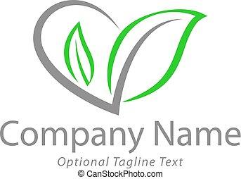 logotipo, hojas, corazón