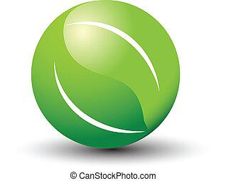 logotipo, hojas, mundo