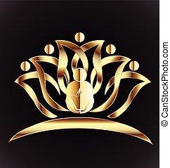 logotipo, homem ioga, ouro, flor lotus