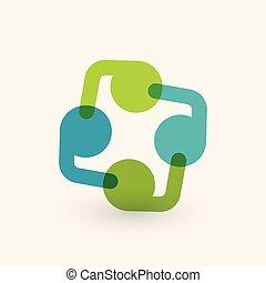 logotipo, icon., associazione, cooperazione, design.
