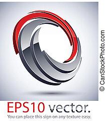 logotipo, icon., moderno, rotolo, 3d