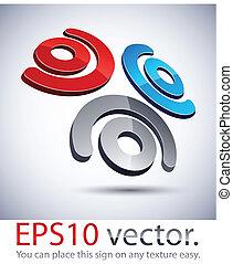 logotipo, icon., modernos, 3d