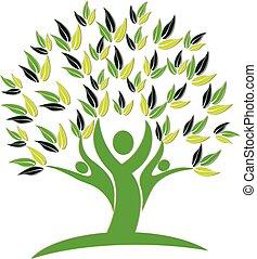 logotipo, icona, albero, persone, natura