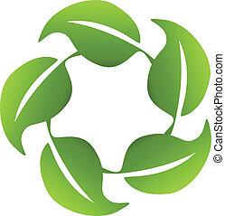 logotipo, icona, intorno, mette foglie, domanda