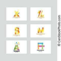 logotipo, icona, set, lettera, alfabeto