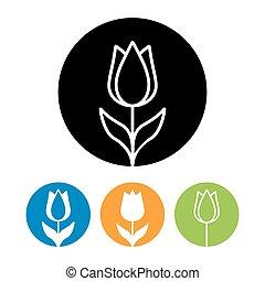 logotipo, icono, style., moderno, lineal, hermoso, tulipán, flor