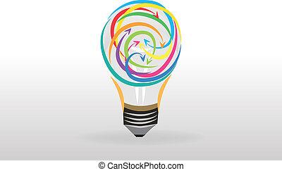 logotipo, idéias, bulbo, luz