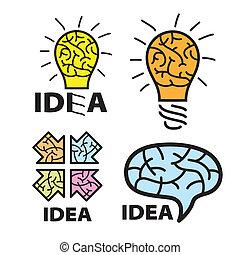 logotipo, idea., cérebro