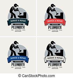 logotipo, idraulico, design.