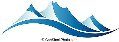 logotipo, image., montagne