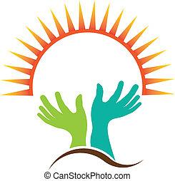 logotipo, imagen, obreros rezando