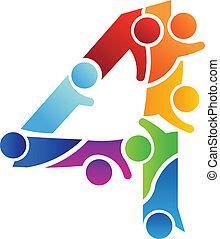 logotipo, imagen, trabajo en equipo, número 4