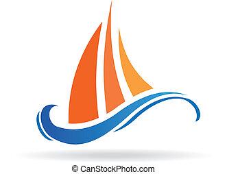 logotipo, immagine, marino, barca, onde