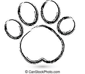 logotipo, impresión, vector, pata
