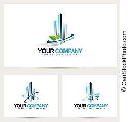 logotipo, incorporado, predios