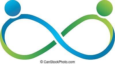 logotipo, infinidade, sócios, trabalho equipe