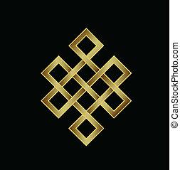 logotipo, infinito, karma, knot., dorato