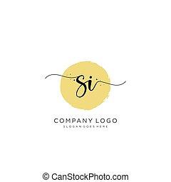logotipo, inicial, diseño, si, escritura