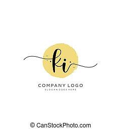 logotipo, iniziale, disegno, ki, scrittura