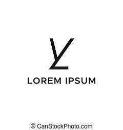 logotipo, iniziale, yl, lettera