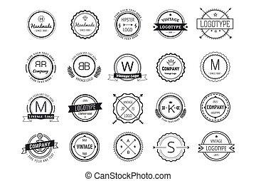 logotipo, insignias, masivo, lío, plantilla