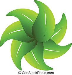 logotipo, intorno, mette foglie