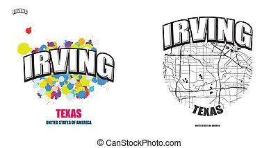 logotipo, irving, texas, opere, due