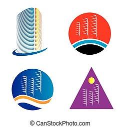 logotipo, jogo, arranha-céu, modelo