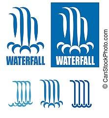 logotipo, jogo, cachoeiras