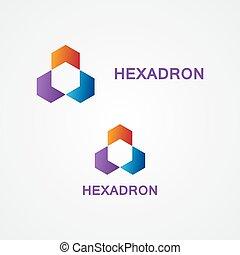logotipo, jogo, coloridos, hexágono