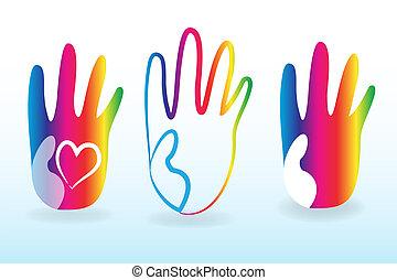 logotipo, jogo, crianças, coloridos, mãos