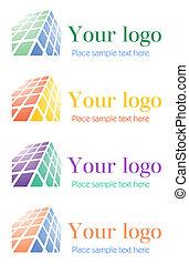 logotipo, jogo, incorporado, arquitetônico