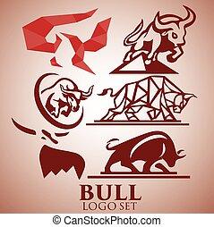 logotipo, jogo, touro